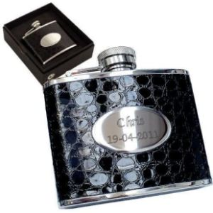 County Engraving Crocodile Leather Hip Flask