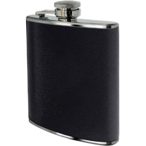 Premier Housewares Personalised Black Leather Hip Flask