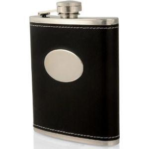 Charles Hendon Personalised Black Leather Hip Flask