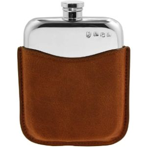 English Pewter Company Glass Leather Case Hip Flask