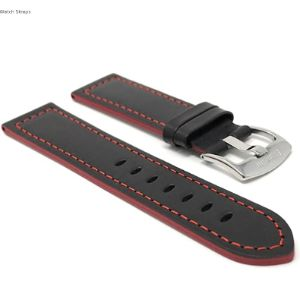 Bandini Black Leather Watch Strap Red Stitching