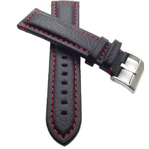 Klug-Versand Black Leather Watch Strap Red Stitching