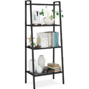 Homfa Black Corner Ladder Shelf