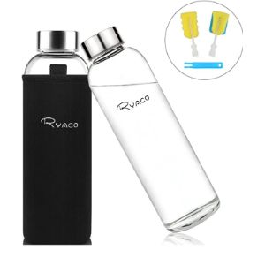 Ryaco Glass Travel Water Bottle