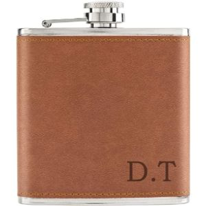 Gift Base Tan Leather Hip Flask