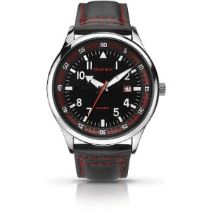 Sekonda Black Leather Watch Strap Red Stitching