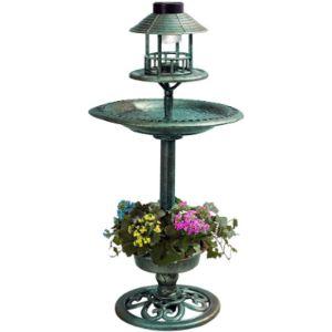Solar Light Planter Bird Bath