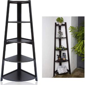 Blackpoolal Black Corner Ladder Shelf