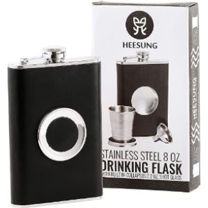 Heesung 8 Oz Leather Hip Flask