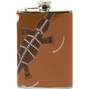 Lafle Crocodile Leather Hip Flask
