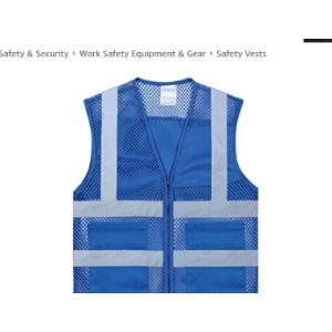Toptie Blue Mesh Safety Vest