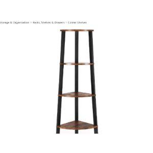 Benjara Black Corner Ladder Shelf