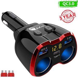Qidoe 12V Cigarette Lighter Socket Splitter
