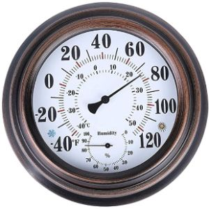 Pandacoco Decorative Bronze Outdoor Thermometer