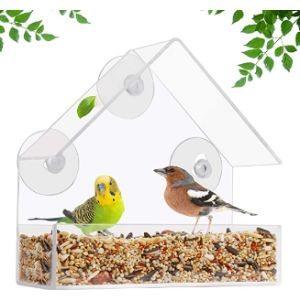 Belle Vous Clear Plastic Window Bird Feeder