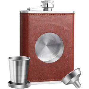 Kwanithink 8 Oz Leather Hip Flask
