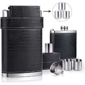 Gezhu Leather Covered Hip Flask