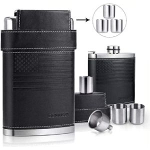 Piner Leather Covered Hip Flask