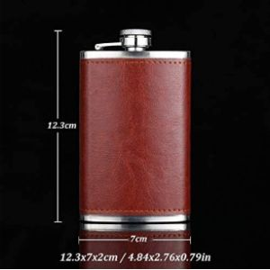 Hnxcbh Leather Covered Hip Flask