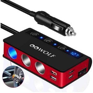 Oowolf 12V Cigarette Lighter Socket Splitter