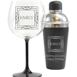 Giftsonline4U Engraved Cocktail Shaker Set