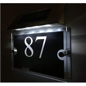 Solar Light House Number Plaque