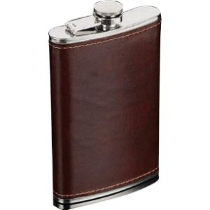 Lobboy Glass Leather Case Hip Flask
