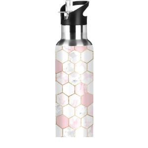 Mnsruu Pink Stainless Steel Water Bottle
