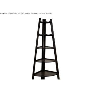 Sdfsx Black Corner Ladder Shelf