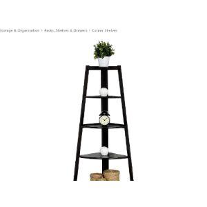 Carsparadisezone Black Corner Ladder Shelf
