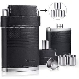Tybxk Leather Covered Hip Flask