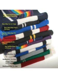 Neotrims Knit Rib Fabric & Cuffs    red ribbon with white stitchings