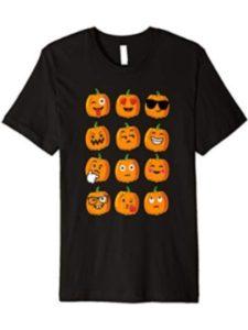 funny Pumpkin Halloween Emoji's T-Shirt emoji  heavy metals